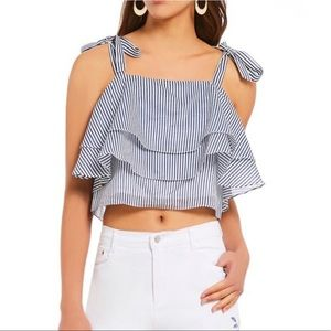 Gianni Bini Tiered Tie Shoulder Crop Blouse